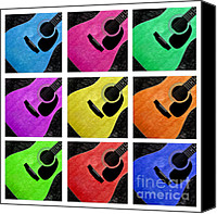 Closeup Mixed Media Canvas Prints - Guitar Tic Tac Toe White Canvas Print by Andee Photography