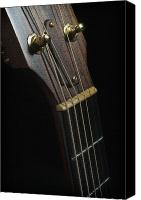 Guitar Headstock Canvas Prints - Guitar Tuner and Neck Canvas Print by Steve Shockley