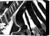 Music Photo Canvas Prints - Guitar Zebra Canvas Print by Roxy Riou