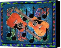 Instrument Tapestries - Textiles Canvas Prints - Guitars - Bordered Canvas Print by Sue Duda
