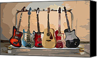 Electric Digital Art Canvas Prints - Guitars On A Rack Canvas Print by Arline Wagner
