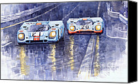 Gulf Canvas Prints - Gulf-Porsche 917 K Spa Francorchamps 1970 Canvas Print by Yuriy  Shevchuk