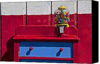 Collectible Canvas Prints - Gum ball machine on red desk Canvas Print by Garry Gay