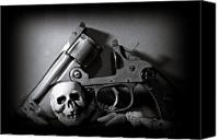 Skullcap Canvas Prints - Gun and Skull Canvas Print by Scott  Wyatt