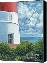 Cay Canvas Prints - Gun Cay Lighthouse Canvas Print by Danielle Perry