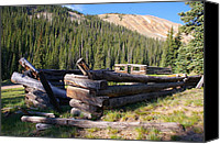 Log Cabins Canvas Prints - Gunnison County Miners Homes Canvas Print by Cynthia Cox Cottam
