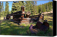 Log Cabins Canvas Prints - Gunnison Mining History Canvas Print by Cynthia Cox Cottam