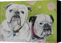 Two Pastels Canvas Prints - Gus and Olive Canvas Print by Michelle Hayden-Marsan