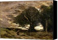 1875 Canvas Prints - Gust of Wind Canvas Print by Jean Baptiste Camille Corot