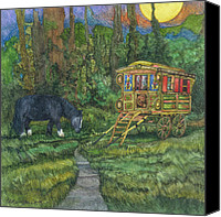 Pony Canvas Prints - Gwendolyns Wagon Canvas Print by Casey Rasmussen White