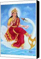 Goddess Riding A Swan Jewelry Canvas Prints - Gyatri Devi Canvas Print by Kalpana Talpade Ranadive