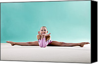 Color Stretching Canvas Prints - Gymnast, Smiling, Side Split, Head On Hands Canvas Print by Emma Innocenti
