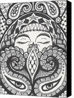 Mother Drawings Canvas Prints - Gypsy Canvas Print by Amy S Turner
