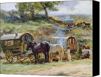 Atkinson Canvas Prints - Gypsy Encampment Canvas Print by John Atkinson