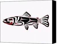 Trout Digital Art Canvas Prints - Haida Trout Canvas Print by Rob Tullis