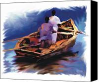 Haitian Canvas Prints - Haitian Fishermen Canvas Print by Bob Salo