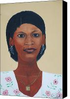 Nicole Jean-louis Canvas Prints - Haitian Woman Portrait Canvas Print by Nicole Jean-Louis