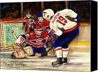 Hockey In Montreal Painting Canvas Prints - Halak Blocks Backstrom In Stanley Cup Playoffs 2010 Canvas Print by Carole Spandau