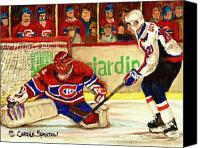 Hockey In Montreal Painting Canvas Prints - Halak Makes Another Save Canvas Print by Carole Spandau