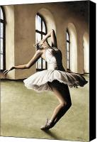 Ballet Art Canvas Prints - Halcyon Ballerina Canvas Print by Richard Young