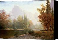 Shore Painting Canvas Prints - Half Dome Yosemite Canvas Print by Albert Bierstadt