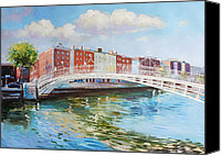 Wellington Painting Canvas Prints - Halfpenny Bridge Dublin Canvas Print by Conor McGuire