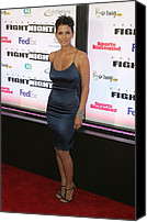 Satin Dress Canvas Prints - Halle Berry Wearing A Rachel Roy Dress Canvas Print by Everett