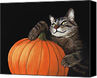 Orange Black Canvas Prints - Halloween Cat Canvas Print by Anastasiya Malakhova