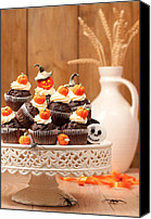 Cake-stand Canvas Prints - Halloween Chocolate Muffins Canvas Print by Christopher Elwell and Amanda Haselock