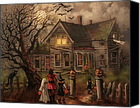 Haunted House Canvas Prints - Halloween Dare Canvas Print by Tom Shropshire