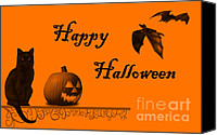 Halloween Scene Canvas Prints - Halloween Canvas Print by Darren Fisher