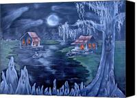 Old Cabins Canvas Prints - Halloween in the Swamp Canvas Print by Ruth Bares
