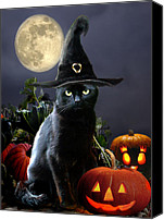 Halloween Scene Canvas Prints - Halloween kitty Canvas Print by Gina Femrite
