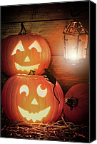 Halloween Scene Canvas Prints - Halloween Pumpkins Canvas Print by Christopher Elwell and Amanda Haselock