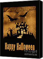 Haunted House Canvas Prints - Halloween quilt top Canvas Print by Nancy Greenland
