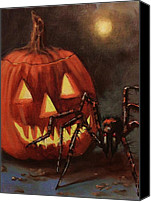Scary Painting Canvas Prints - Halloween Spider Canvas Print by Tom Shropshire
