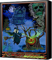 Haunted House Canvas Prints - Halloween Witchs Coldron Canvas Print by Glenn Holbrook