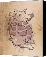 Cartoon Canvas Prints - Ham-grenade Canvas Print by Joe Dragt