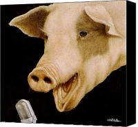 Pig Painting Canvas Prints - Hamateur Hour... Canvas Print by Will Bullas