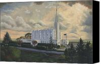 Mormon Painting Canvas Prints - Hamilton New Zealand Temple Canvas Print by Jeff Brimley