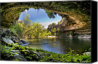 Parks Canvas Prints - Hamilton Pool Canvas Print by Lisa  Spencer