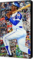 Glove Mixed Media Canvas Prints - Hammering Hank Aaron Canvas Print by Michael Lee