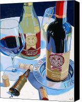 Glass Bottles Canvas Prints - Hampden Sydney Red and White Number One Canvas Print by Christopher Mize