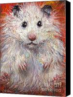 White Drawings Canvas Prints - Hamster Painting  Canvas Print by Svetlana Novikova