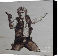 Wood Pyrography Canvas Prints - Han Solo Canvas Print by Chris Wulff