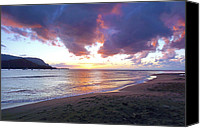 Sup Canvas Prints - Hanalei Bay Sunset Kauai Canvas Print by Kevin Smith