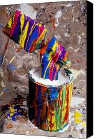 Fingers Photo Canvas Prints - Hand coming out of paint bucket Canvas Print by Garry Gay