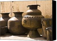 Hand Crafted Canvas Prints - Hand Crafted Jugs, Jaipur, India Canvas Print by Keith Levit