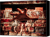 Zombie Digital Art Canvas Prints - Hand Grabbing Viewer Canvas Print by Wim Lanclus