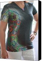 Painted Tapestries - Textiles Canvas Prints - Hand Painted Tshirts Canvas Print by Laura Miller